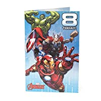 Age 8 Birthday Card - Avengers Birthday Card Featuring Hulk, Iron Man, Thor, Captain America - 8th Birthday, Ideal Gift Card for Kids - Marvel