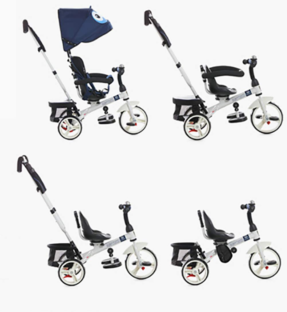 GHDE& 4 in 1 Toddler Trike Kids Tricycle with Sun Canopy, Back Storage and Removable Parent Handle Fit from 6 Months to 6 Years Max Load 30kg,Blue  4 IN 1 TRIKE: This is a growing with your child innovative kid trike, it follows with your baby's growing up and can be a baby bike, baby walker, or trike with parent pushing rod and canopy. Comfort for Kids: The large and retractable canopy provides ample shade, comfortable backrest and folding footrest to provide maximum comfort to your children. 5-point safety belts and safety fence ensure more safety for your baby. This tricycle is the best choice as an outdoor companion for children from 12 months to 5 years. CE & USA ASTMF certification, Maximum load bearing: 30 kg, Recommended height: 85-120 cm. 5