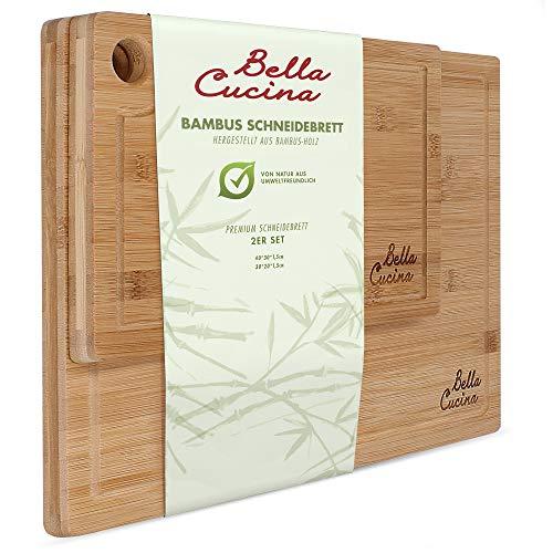 Bella Cucina© Original Bambus Schneidebrett 2er Set | Massive Küchenbretter aus Holz als Einzel- und 2er Set | Inklusive Saftrille und Loch zum Aufhängen (2er Set) -