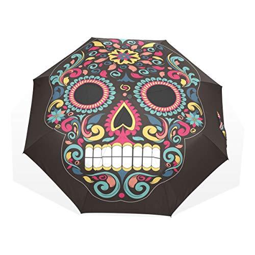 EZIOLY - Paraguas de Viaje Ligero con diseño de Calavera de azúcar, para Hombres, Mujeres y niños, Resistente al Viento, Plegable, Compacto