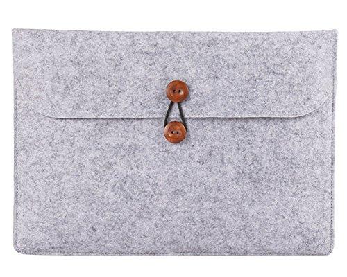 13 Pouces Résistant aux Chocs Housse Macbook Air / Macbook Pro Retina Sacoche Feutre de Laine pour Ordinateur PC Portable Gris