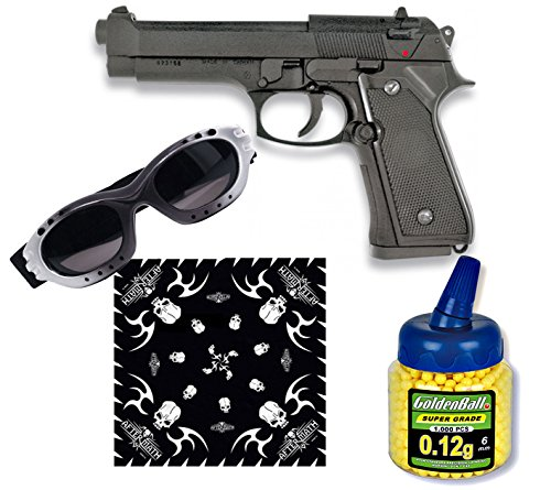 PISTOLA AIRSOFT MF-9S NEGRA METALICA  CALIBRE 6MM