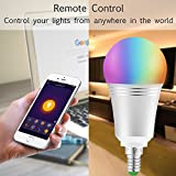 Smart Lampe, wlan Lampe E14, 810LM, 7w, dimmbare Wlan Glühbirne, Smart Home Lampe steuerbar via APP; Wifi Birne kompatibel mit Google Home Amazon Alexa(Echo, Echo Dot) für Sprachsteruerung. - 4