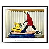 Veit`S Bilder Wandbild Cartoon Physiotherapie Verspannung - Außergewöhnliche Verspannungen erfordern außergewöhnliche Maßnahmen!? (Mittel 40x50mit Rahmen)