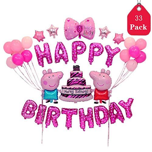 Amycute Geburtstagsdeko Mädchen Rosa 33 Stücks Geburtstag Dekoration Set mit Happy Birthday Luftballon,Piggy Folienballons,Stern Folie Ballons für Geburtstag Dekoration, Kinder-Partys. - Für Partei Die Geld-baum
