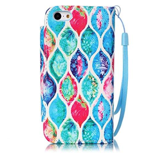 CareyNoce Apple 5C Coque,Flip Housse Etui Cuir PU Coque pour Apple iPhone 5C (4.0 pouces) -- licorne Fleurs colorées
