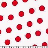 Karneval-Satin, gepunktet, weiss/rot, 150 cm breit,