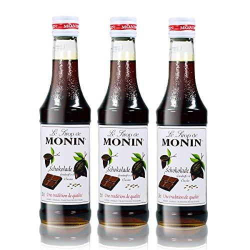 3x Monin Schokoladen Sirup, 250 ml Flasche - für Cocktails, zum Kaffee oder Kochen