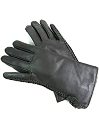Ladies Womens New Super Soft Premium Luxary Genuine Leather Gloves Fully Lined Winter Warm Everyday Driving (Medium, Grey)