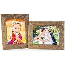 Set de 2 cadres photo 18x24 cm maison de plage rustique aspect chêne naturel bois massif avec vitre et accessoires / cadre photo