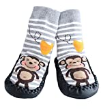 Baby Boys Girls Moccasins NON-SKID Indoor Shoes Socks STRIPED GREY MONKEY (1.5-2.5 YRS)