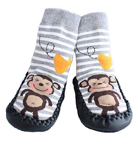 Baby Jungen Mädchen Mokassins RUTSCHFESTE Indoor Schuhe Socken GESTREIFT GRAU AFFE - 1.5-2.5 Jahre (Baby Mokassins Größe 1)