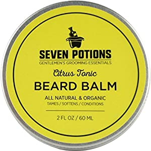 Beard Balm 60ml All Natural, Organic, Cruelty Free. Nourishes the Skin & Makes Your Beard Soft. Stops Beard Itch, Leaves it Naturally Shiny & Healthy. With Jojoba Oil (Citrus Tonic)