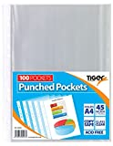 Tiger 300947 A4 Punched Pocket Sleeve Wallets - Transparent  (100 Pieces)