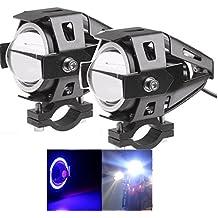U7LED Motocicleta Faro conducción DRL Faros de Niebla, High/Low Inyección, intermitentes con ojo azul anillo de luz (2unidades)