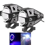 Super Bright - Fanali U7 a LED per motocicletta con luci di marcia diurna, fendinebbia, abbaglianti e anabbaglianti, con anello blu (2 pezzi)