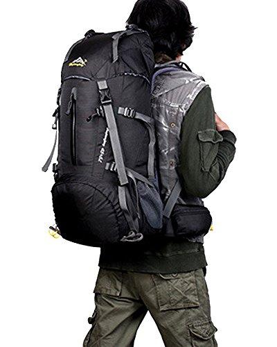 Hwjianfeng Damen Herren 45+5 Liter Outdoor Wandern Camping Reisen Trekkingrucksack (Marineblau) Schwarz