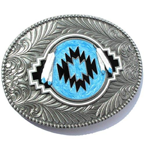 Preisvergleich Produktbild Western-Buckle Indianer-Federn & Tribal, Muster, Gürtelschnalle