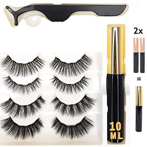 Reddington® 4er SET Magnetischer Eyeliner - Vier Verschiedenen Künstliche Wimpern - Wimpernzange - Magnetisch - Natürlich Falsche Lashes Verlängerung
