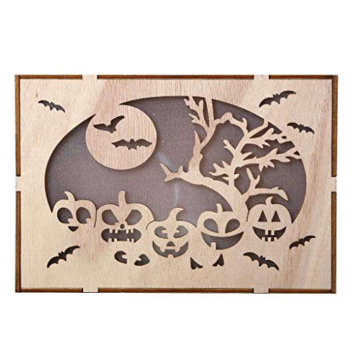 Triple X Kostüm - Cooljun Halloween Deko,Holz Kürbis Spukhaus Anhänger LED Nachtlicht Halloween Home Decor Clever 2 x AAA-Batterien (nicht enthalten) (B)