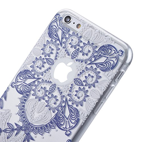 "HB-Int 3 in 1 Weich Silikon Back Hülle für iPhone 6 Plus 6S Plus (5.5"") Anti Rutsch Weiß Blumen Case Flexible Transparent Dünn Schutzhülle TPU Handytasche Full Body Shell Rundum Rahmen Tasche Beschütz Blau Blumen"