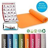 POWRX Tappetino yoga DELUXE antiscivolo - Ideale per esercizi di yoga, pilates e ginnastica a terra - 100% in materiale TPE resistente e privo di sostanze nocive - 173 x 61 x 0,5 cm (Mango)
