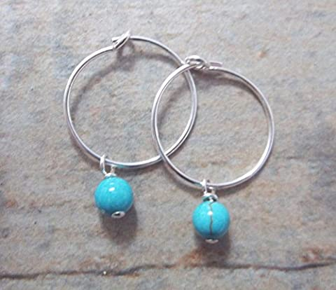 Sterling Silver Small 15mm Hoop Earrings with Turquoise