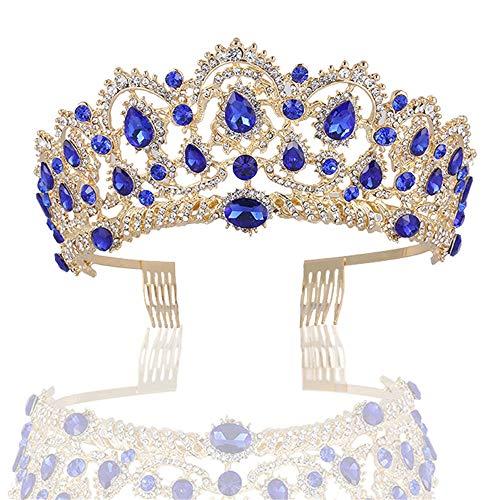 Kostüm Queen Pageant - Styling Zubehör - Elegante Kristall Tiara Strass Krone Gold Prinzessin Queen Geburtstag Prom Pageant Diamond Tiaras (Color : Blue)