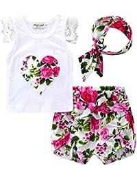 Gazechimp Ensemble de T-shirt + Bandeau + Shorts Florale Motif Mignon Pour Bébé Fille