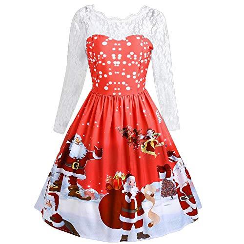 LUCKDE Frauen Mädchen Weihnachten Kleid Santa Weihnachten Geschenk Herz Print Swing Kleid