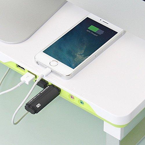DeepCool Soporte Ajustable para Monitor y Ordenador Portátil Elevador de Monitor de Escritorio con 4 Puertos USB y Jacks de Audio / Micrófono Color Verde y Blanco