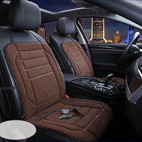 MIAO Autositz Heizkissen, Universal Auto Winter 12V 45W (HI) / 36W (LO) elektrisch beheizte Plüsch Kissen (96cm * 48cm) , coffee