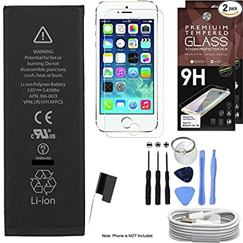 Cell Phone DIY Replacement Battery Kit for Apple iPhone 5 - Complete Repair - Includes Tools - [Set of 2] Glass Screen Protectors Pack - 1M/3' USB Cable - 0 Cycle 1440mAh Batteries
