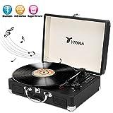 Yiiyaa Plattenspieler Tragbar, Schallplattenspieler Turntable mit eingebautem Lautsprecher, Bluetooth, USB-Anschluss MP3-Wiedergabe, Vinyl-to-MP3 Funktion, 3 Geschwindigkeiten 33/45/78 U/Min Schwarz
