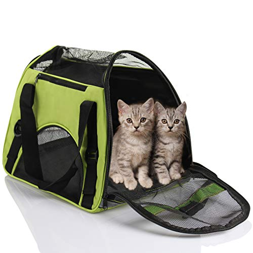 D4P Display4top de Transportín de Viaje para Mascotas, cómodo, Ampliable, Plegable, para Perros y Gatos, 46cm x 25cm x 28cm (Verde)