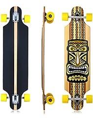 Vokul alta rebote–Monopatín completo Deck Longboard Cruiser Skateboard, D-Yellow