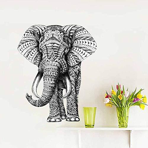 JXWR Elefant Persönlichkeit kreative dekorative Wandaufkleber Kunst schwarz und weiß dekorative Aufkleber 31x38cm -