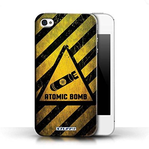 KOBALT® Hülle Case für Apple iPhone 4/4S | Biohazard Entwurf | Warnung Zeichen Kollektion Atombombe