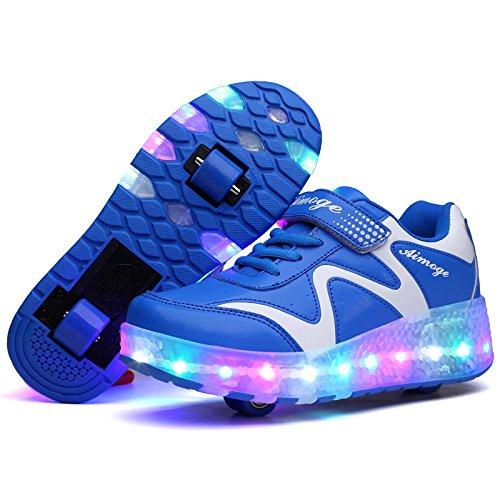 KE Unisexe Enfants Lumière LED Roues Feu Ailes Clignotant Patins à roulettes Entraîneur Chaussures de sport Blue Two Wheels