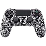 Leoie Camouflage Case Graffiti Studded Dots Silicone Rubber Gel Skin for Sony PS4 Slim/Pro Controller Cover Case for Dualshock4 Digital Black and White
