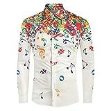 BELLA HXR Camicie Uomo Maglia A Maniche Lunghe,con Stampa di Note Musicali,LIM,Originale Camicia con Bottoni Elegante,vestibilità Regolare, Stile Hawaiano, per Feste in Spiaggia