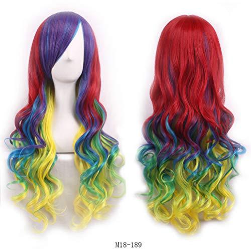 Frauen Cosplay langes lockiges Haar Farbverlauf Schal Haar Kostüm Party gewellte Perücke