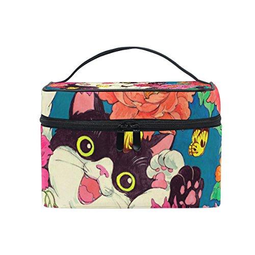 ALAZA Sac cosmétique de chat et papillon avec le maquillage de fleur Voyage cas de stockage Organisateur