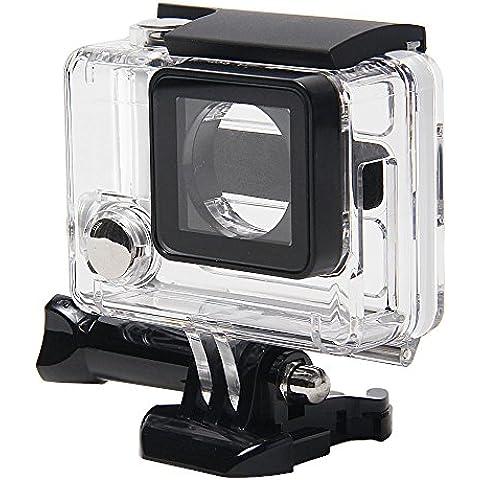 niceeshop(TM) Transparente/ Negro Cubierta Carcasa de Protector Impermeable de Vista Lateral Abierto con Lente Objetivo para Hero Gopro Hero 3 +/ 4