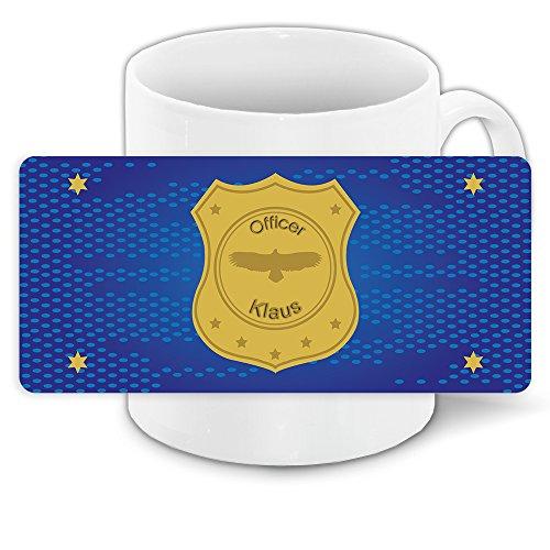 Tasse mit Namen Klaus und schönem Officer-Motiv für Jungs - Tasse für Kinder Keramiktasse
