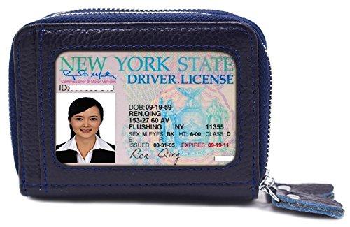 Luckshow Kartenhalter aus echtem Leder für Frauen - Doppelreißverschluss große Kapazität - Kartenfach mit Ausweisfenster - RFID-Blocking - Blau -