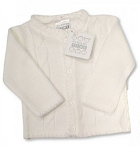 Baby Boy White Cable Knitted Christening Wedding Cardigan Jumper (12-18 Months)