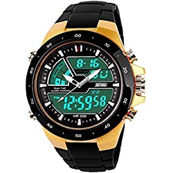 QBD Teenager Boy's Students Digital-analog Multi Function Watch -50M Waterproof- Dual dispaly time zones, alarm , stopwatch, LED backlight, FREE luxury gift box (Sk gold)