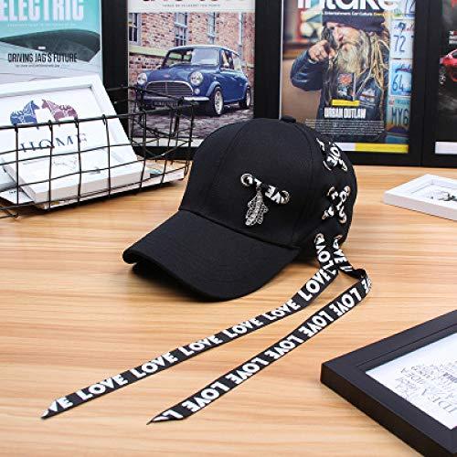 mlpnko Harajuku Streamer Cap Hut weiblich Jugendmode Baseball Cap schwarz verstellbar