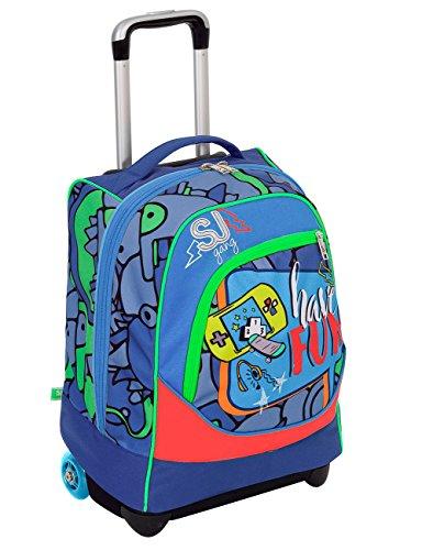 Trolley big - sj gang boy - azzurro rosso - 33 lt uso zaino - spallacci a scomparsa totale - scuola e viaggio